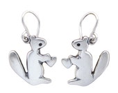 Squirrel Earrings with Hearts - Silver Squirrel Earrings
