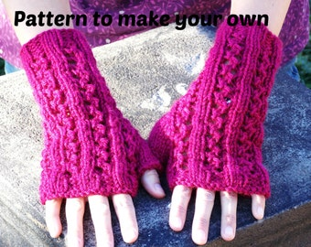 knitting PATTERN  zigzag lace rib fingerless texting gloves knit directions instructions PDF Instant Download