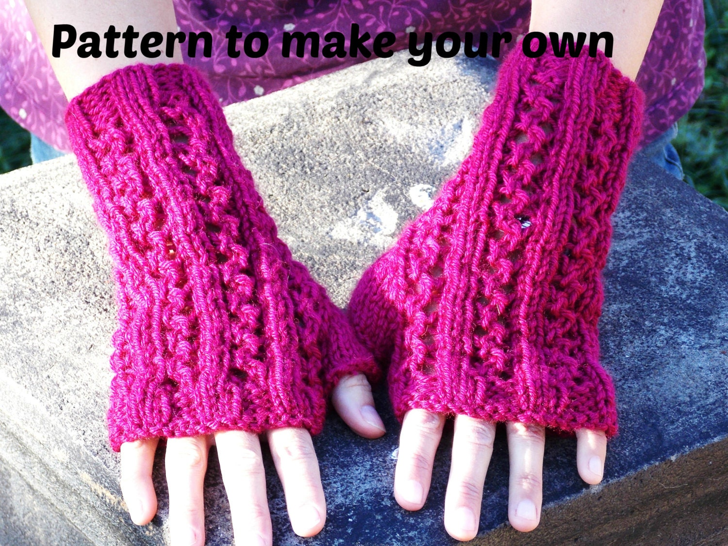 Knitting Pattern For Lace Gloves : knitting PATTERN fingerless gloves zigzag lace rib texting