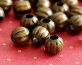 200pcs Antique Brass Watermelon Round Spacer Beads 4mm E185Y-AB