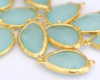 Sale Top Quality 2pcs PaleTurquoise Glass Polished Real Gold Plated Brass Links GLAA