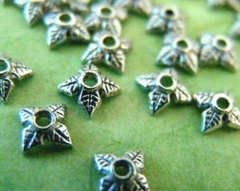 Wholesale Lead Free 200pcs 6mm Antique Silver Four Leaf Bead Caps LF0124Y-NF