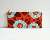 Blooms in Rust Long Zipper Pouch Pencil Case Joel Dewberry Ginseng
