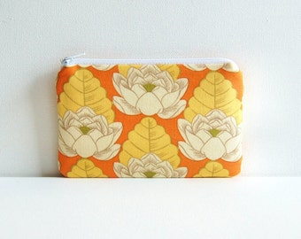 Coin Purse Small Zipper Pouch Amy Butler Lotus Pond in Tangerine
