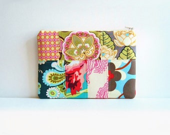 Quilted Patchwork, Zipper Pouch, Cosmetic Case, Makeup Bag, Medium Size, Amy Butler Fabrics