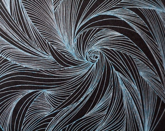 One of a kind spiral gel pen drawing