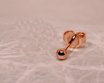 SINGLE 2mm Rose Gold Ball Stud Earring 14k by SARANTOS