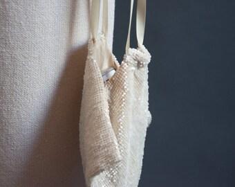 aurora white beaded pouch purse / wristlet / beaded evening purse / 320a