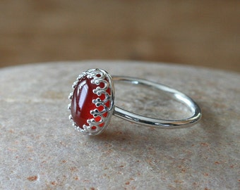 Carnelian Ring • Gallery Bezel • Sterling Silver Gemstone • Crown • Princess • Size 2 to 15 • Stacking Ring