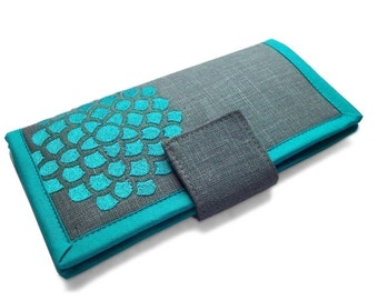 Womens wallet - Teal and gray Wallet - Handmade fabric Wallet - Large bifold wallet