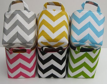 Fabric Storage Container Organizer Bin Basket - Choose the Outside Chevron fabric and Inside/ Lining Fabric