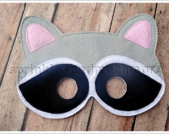 Raccoon Mask Woodland Creatures Mask Felt Mask Pretend Play Creative Play Masks Halloween Mask Easter Basket