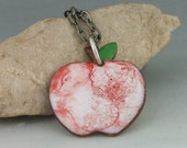 Copper Enameled Pendant, Enameled Apple, apple pendant necklace, hand painted accents, An apple for the teacher