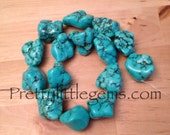 Blue Fire Turquoise  Large Nuggets Bead Strand