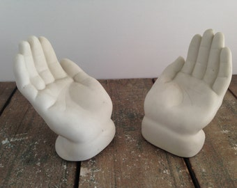 VINTAGE WHITE Open PORCELAIN Hands Bookends