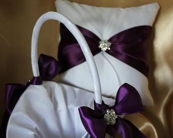 Large -Ivory or White Satin Flower Girl Basket/Pillow Set-  Plum Satin Ribbon and Rhinestone Accent-CUSTOM COLORS