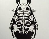 Skeleton My Neighbor Totoro inspired  vinyl sticker decal car window sticker