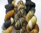 Hand Painted Superwash BFL and Nylon 4-ply Sock/Fingering Yarn -- Bengal Tiger