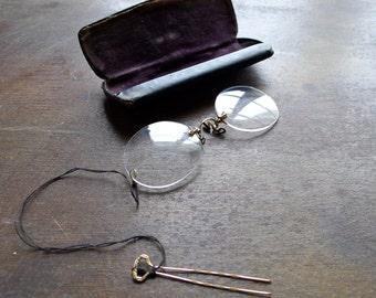 Shur-On Gold Filled Pince Nez with Hair Pin and Case