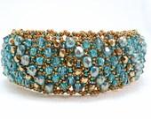 Turquoise Treasure Beadwoven Cuff Bracelet