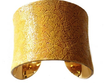Mustard Yellow Iridescent Basketweave Cuff - by UNEARTHED
