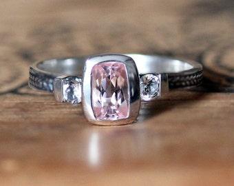 Morganite engagement ring, 3 stone ring, white topaz, braided ring, unique engagement ring, three stone ring, oxidized silver, Wheat ring