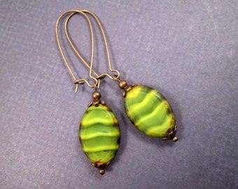 Picasso Beaded Earrings, Wavy Green Striped, Long Brass Dangle Earrings, FREE Shipping U.S.