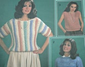 Quick Sweater Crochet Patterns Easy Leisure Arts 347 by Carole Rutter Women Vintage Paper Original NOT a PDF