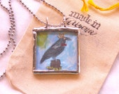 Raven Pendant Soldered Necklace Original Collage Under Glass MADE TO ORDER Beveled Glass