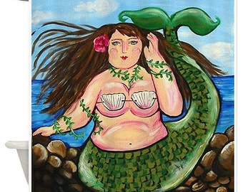 Chubby Mermaid Fun Folk Art Whimsical Colorful Bathroom Shower Curtain