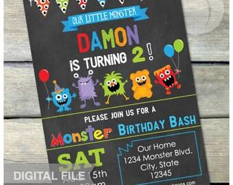 "Little Monster Birthday Party Bash Chalkboard Invitation - Digital Invite - 5"" x 7"" - Digital Printable"