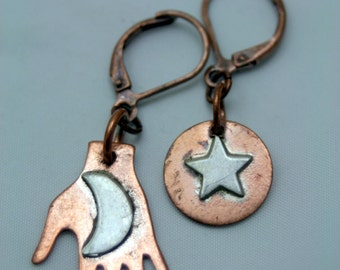She held the Moon in her Hand Copper n Sterling Silver Dangle Earrings Mixed Metals