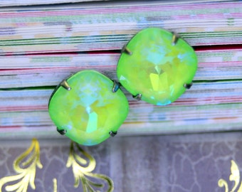 Enchanting ULTRA LIME GREEN Ab Swarovski Element Post Stud Earrings 12mm Bridal Prom Enchanting Color Cushion Cut