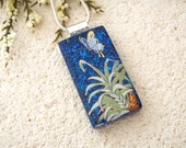 Butterfly Necklace, Dichroic Glass Necklace, Fused Glass Jewelry ,Dichroic Jewelry, Deep  Blue Butterfly,  Fused Glass Jewelry 042815p101