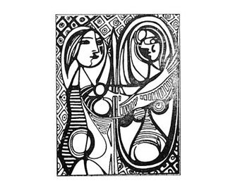 SUPER CLEARANCE Girl Before A Mirror Pablo Picasso rubber stamp