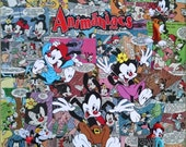 ANIMANIACS Decoupage Comic Collage Canvas