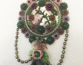 OOAK Beadwoven Necklace. Semiprecious Stones . Onyx, Amethyst, Aventurine, Pearls . Mother of Pearl - Unique Garden by enchantedbeads on Ets