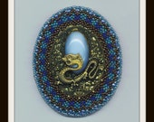 Golden Filigree Dragon Brooch . Bead Embroidery . Beadwoven . Aqua Blue Pin . Beaded Beadwork - Halloween Dragon by enchantedbeads on Etsy