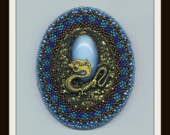Golden Filigree Dragon Brooch . Bead Embroidery . Beadwoven . Aqua Blue Pin . Beaded Beadwork - Halloween Dragon by enchantedbeads on Etsy