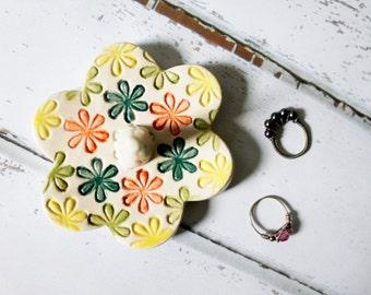 Flower Power Ring Dish, Ready to ship,  Ring Holder Flower Dish