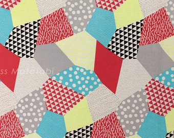 Japanese Fabric Kokka Trefle-L neon patch - D - fat quarter
