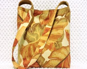 Colors of Tuscany Fabric Hobo Bag Purse - Shoulder Bag - Earthy Hobo Purse - Scattered Leaves - Hobo Tote Bag - Handmade Ladies Handbag