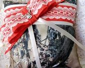 Real Tree Satin Camoflauge Ring Pillow-Hunter Orange Burlap & Lace-Camo wedding-Fall Wedding-