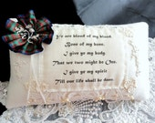 White Wool & Antique Lace Outlander Blood Vows Ring Pillow-