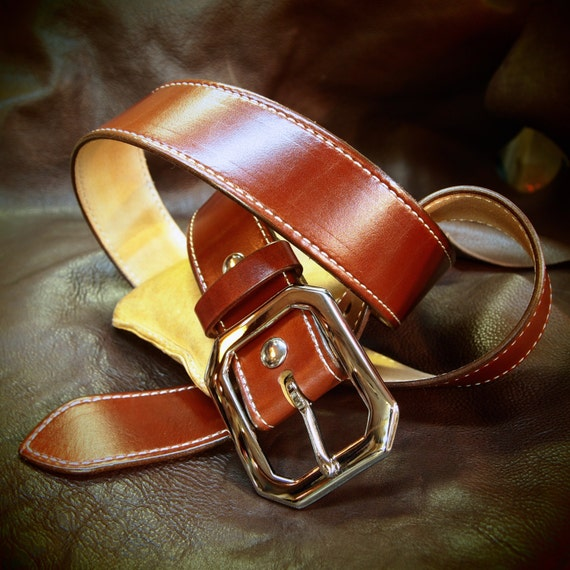 "Tan leather belt  1-3/4"" rust brown wide- saddle machine stitched handmade for YOU in NYC by Freddie Matara"