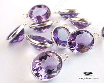10 pcs 9mm x 7mm Bright Purple Amethyst (Natural Stone) Oval Drops Sterling Silver Bezel F434S