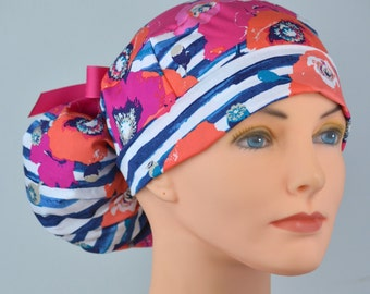 Scrub Hats // Scrub Caps // Scrub Hats for Women // The Hat Cottage // Ponytail // Poppies