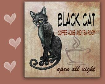CAT SPOON REST - Cat Tile - Cat trivet - Cat Hot Plate -  Black Cat Coffee - Cat sign, Coffee Sign - Coffee Lover Gift - Cat Lover Gift