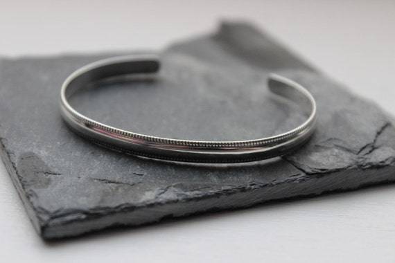 Sterling Silver Cuff- Half Round - Polished or Oxidized Silver