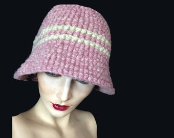 Wool Bucket Hat, 1970s, Bucket Hat, LL Bean, ColLab, Hand Made, Pink, Mauve, Wool, Stripe, Winter Hat, New Old Stock